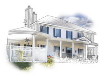 Sketch of House and Photo Combination on White stock illustration