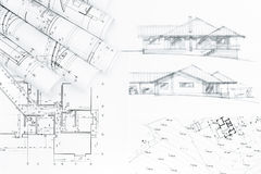 Sketch and house plan blueprints Stock Photos