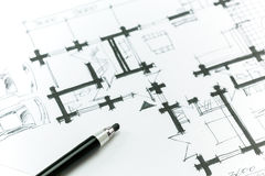 Sketch house plan Royalty Free Stock Images