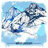 Sketch House In Winter Mountains Stock Image