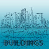 Sketch houses and building. Minimalism contours in vector. Blue Stock Photos