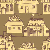 Sketch houses pattern Stock Images