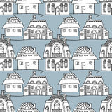 Sketch houses seamless pattern Royalty Free Stock Image