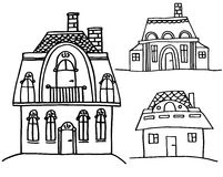 Sketch houses Stock Photos