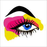 Sketch of human eye on a white background. Bright makeup. Royalty Free Stock Photo