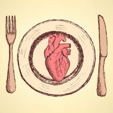 Sketch human heart on the plate in vintage style Royalty Free Stock Images