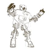 Sketch of humanoid robot. Isolated on white background Stock Images