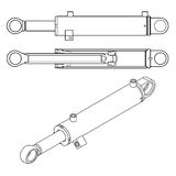 The sketch of a hydraulic cylinder Stock Image