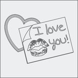 Sketch of I love you note and heart Stock Photography