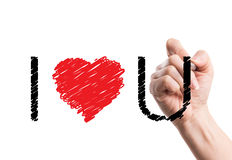 Sketch I love you short cut text Royalty Free Stock Image