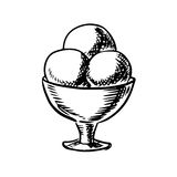 Sketch of ice cream scoops in sundae bowl Royalty Free Stock Photo