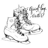 Sketch of ice skates and hand drawn text. Vector illustration of sketch ice skates, hand drawn text Good Bye, winter Royalty Free Stock Image