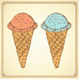 Sketch icecream cone in vintage style Stock Image