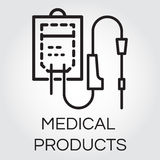 Sketch icon of intravenous dropper drawn in outline style vector illustration