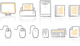Sketch Icon_office white background. Illustration of Office icon set on white background Royalty Free Stock Images