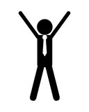 Sketch icon of people with hands up winner champion Stock Images