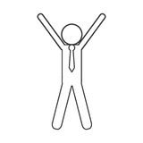 Sketch icon of people with hands up winner champion Stock Photography