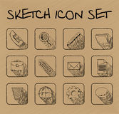 Sketch icon set. Hand-drawn icon set for using in different spheres Royalty Free Stock Photography