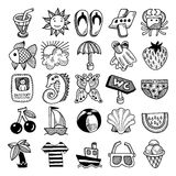 Sketch icon set of summer theme, vector Royalty Free Stock Photo