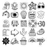 Sketch icon set of summer theme, vector. 25 sketch icon set of summer theme, vector illustration Royalty Free Stock Photos