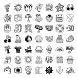 Sketch icon set of summer theme, vector Royalty Free Stock Photos