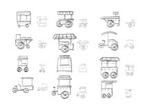 Sketch icons collection for food trolley Stock Images
