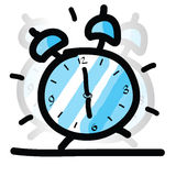 Sketch illustration of the alarm clock Stock Photography
