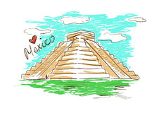 Sketch illustration of Chichen Itza Mayan Pyramid in Mexico Royalty Free Stock Photo