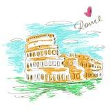 Sketch illustration of Colosseum vector illustration