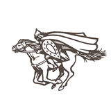 Sketch illustration of a galloping knight. Eps-8 Stock Photos