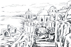 Sketch illustration the greek town. Royalty Free Stock Photos