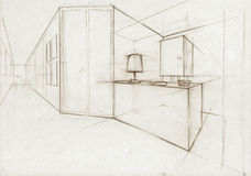 Sketch Illustration for an interior hall. Sketch for an interior hall in a modern building Stock Photography