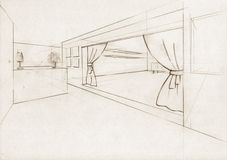 Sketch Illustration for an interior hall. Sketch for an interior hall in a modern building royalty free illustration