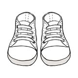 Sketch illustration of kids shoes isolated on white. Background stock illustration