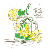 Sketch illustration of Lemon Mint Detox water. Royalty Free Stock Photo