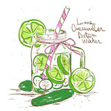 Sketch illustration of Lime Cucumber Detox water. Royalty Free Stock Photo