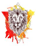 Sketch illustration lion. Hand drawn sketch illustration lion. Boho style drawing. Us for print for t-shirts, smartphone, cards, postcards, tattoo, posters Royalty Free Stock Photos