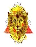 Sketch illustration lion. Hand drawn sketch illustration lion. Boho style drawing. Us for print for t-shirts, smartphone, cards, postcards, tattoo, posters Royalty Free Stock Photo
