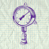 Sketch illustration of a manometer. Royalty Free Stock Images