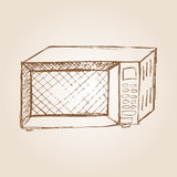 Sketch illustration of microwave oven Stock Images