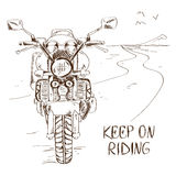 Sketch illustration with motorbike Royalty Free Stock Image