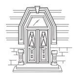 Sketch illustration of retro door. Royalty Free Stock Photo