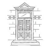 Sketch illustration of retro door. Stock Image