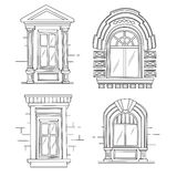 Sketch illustration of retro windows. Stock Photos