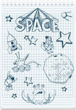 Sketch illustration of space themed Stock Photo