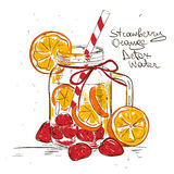 Sketch illustration of Strawberry Orange detox water. Stock Image
