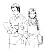 Sketch illustration of young doctors, man and woman. Royalty Free Stock Image