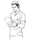 Sketch illustration of young man doctor or a surgeon. Royalty Free Stock Images