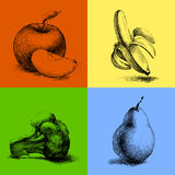 Sketch illustrations of fruits and vegetables Stock Image