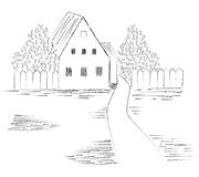 Sketch of the image of a country house Stock Photo